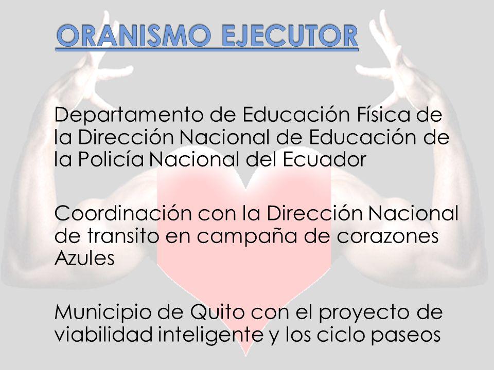Departamento de Educación Física de la Dirección Nacional de Educación de la Policía Nacional del Ecuador Coordinación con la Dirección Nacional de transito en campaña de corazones Azules Municipio de Quito con el proyecto de viabilidad inteligente y los ciclo paseos
