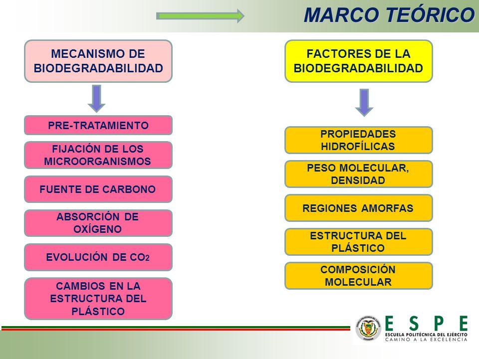 MARCO TEÓRICO MECANISMO DE BIODEGRADABILIDAD PRE-TRATAMIENTO FIJACIÓN DE LOS MICROORGANISMOS FUENTE DE CARBONO ABSORCIÓN DE OXÍGENO EVOLUCIÓN DE CO 2 CAMBIOS EN LA ESTRUCTURA DEL PLÁSTICO FACTORES DE LA BIODEGRADABILIDAD PROPIEDADES HIDROFÍLICAS PESO MOLECULAR, DENSIDAD REGIONES AMORFAS ESTRUCTURA DEL PLÁSTICO COMPOSICIÓN MOLECULAR
