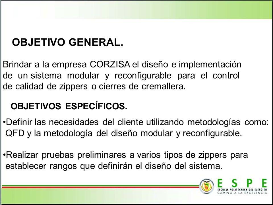 OBJETIVO GENERAL. Brindar a la empresa CORZISA el diseño e implementación de un sistema modular y reconfigurable para el control de calidad de zippers