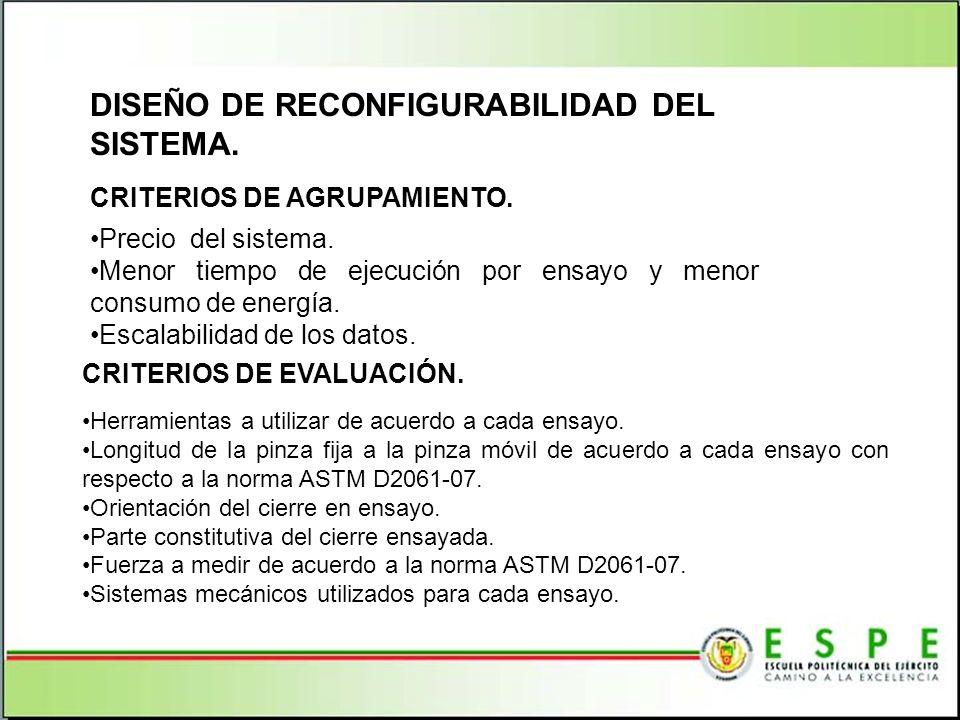DISEÑO DE RECONFIGURABILIDAD DEL SISTEMA. CRITERIOS DE AGRUPAMIENTO. Precio del sistema. Menor tiempo de ejecución por ensayo y menor consumo de energ