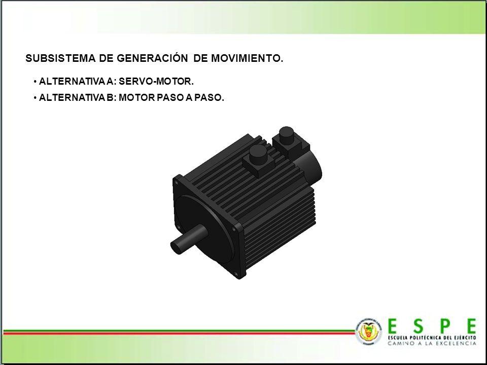 SUBSISTEMA DE GENERACIÓN DE MOVIMIENTO. ALTERNATIVA A: SERVO-MOTOR. ALTERNATIVA B: MOTOR PASO A PASO.