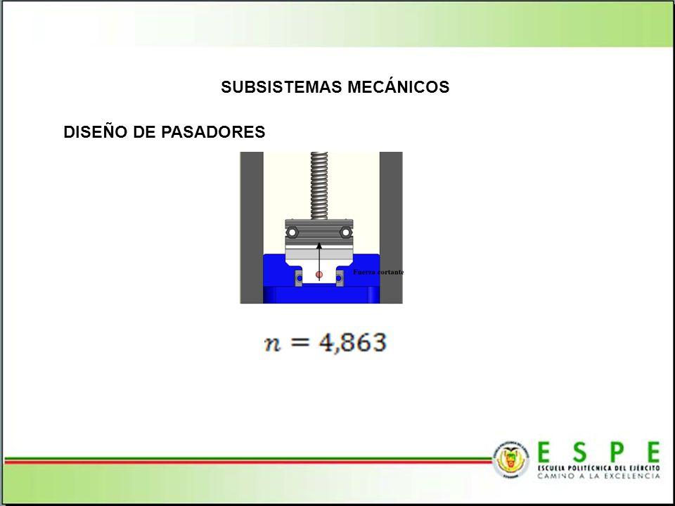 SUBSISTEMAS MECÁNICOS DISEÑO DE PASADORES