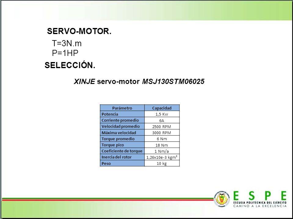 T=3N.m P=1HP SELECCIÓN. SERVO-MOTOR. XINJE servo-motor MSJ130STM06025 ParámetroCapacidad Potencia 1,5 Kw Corriente promedio 6A Velocidad promedio 2500