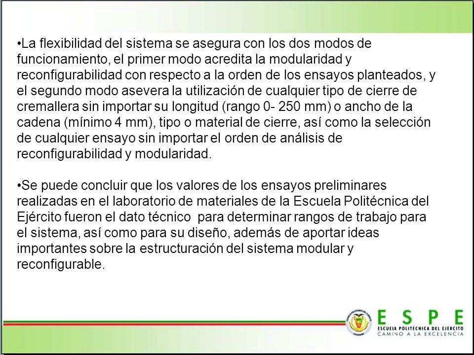 La flexibilidad del sistema se asegura con los dos modos de funcionamiento, el primer modo acredita la modularidad y reconfigurabilidad con respecto a