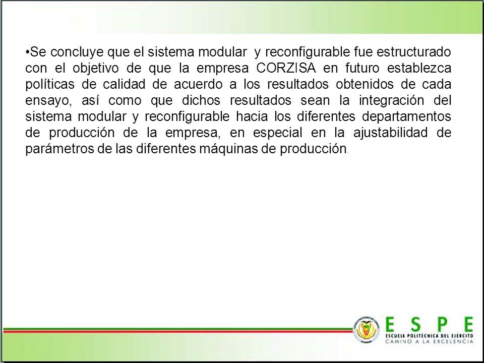 Se concluye que el sistema modular y reconfigurable fue estructurado con el objetivo de que la empresa CORZISA en futuro establezca políticas de calid