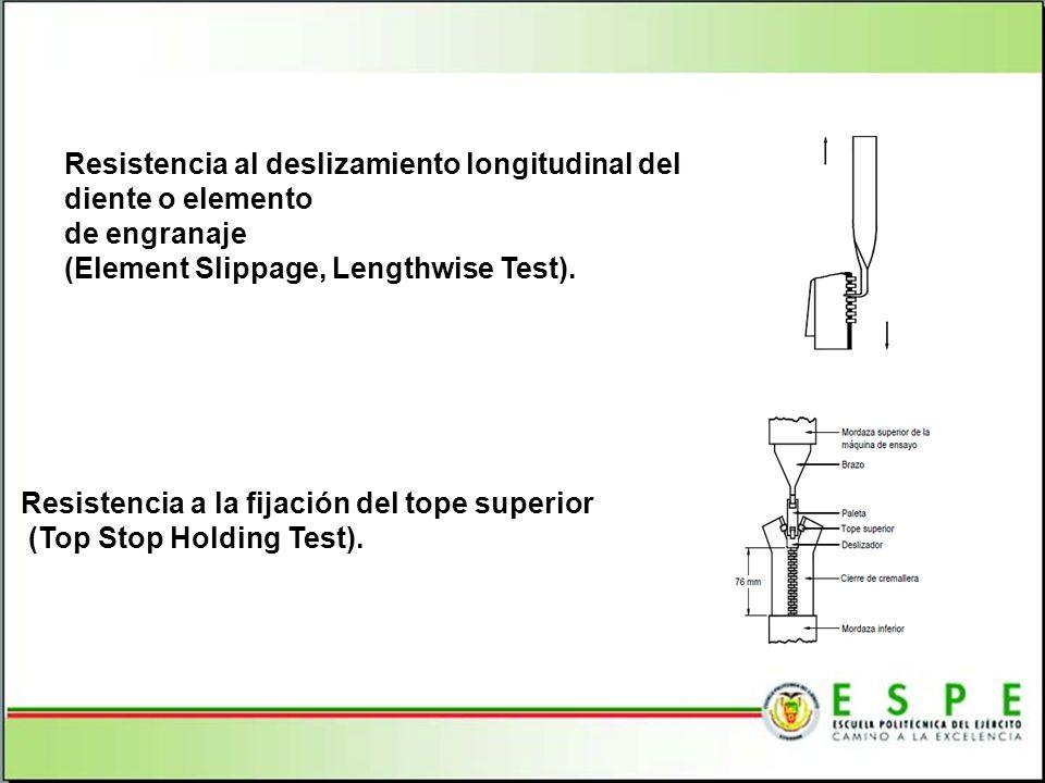 Resistencia al deslizamiento longitudinal del diente o elemento de engranaje (Element Slippage, Lengthwise Test). Resistencia a la fijación del tope s