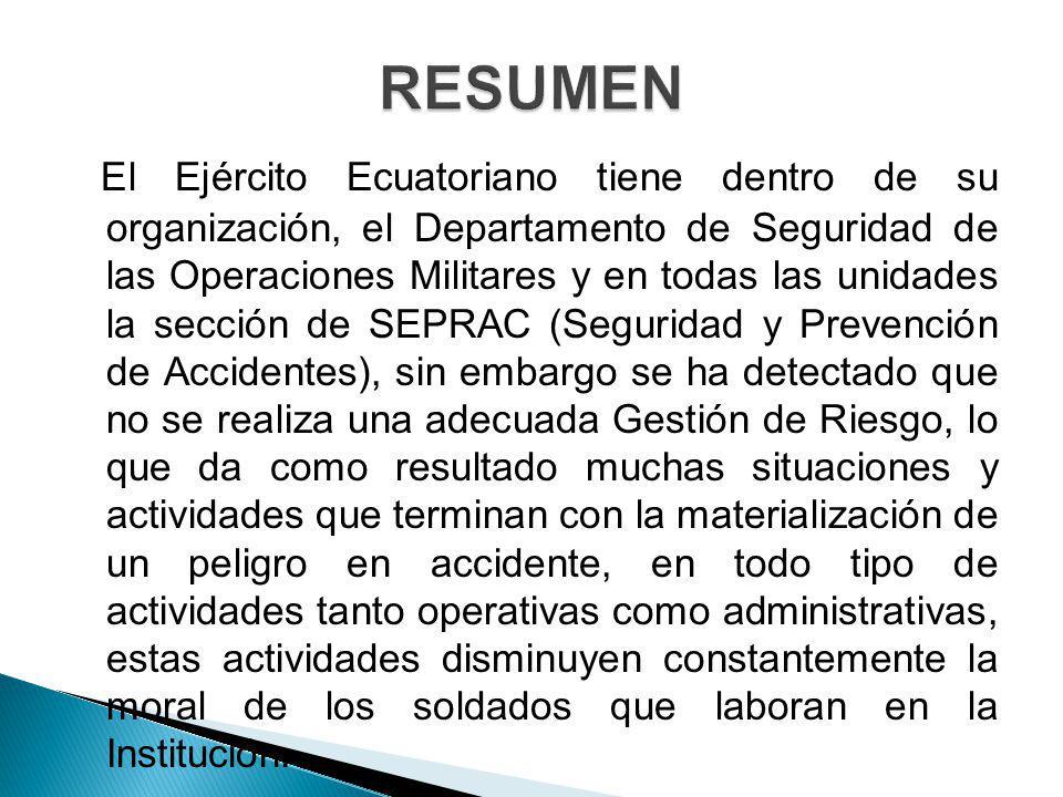 El Ejército Ecuatoriano tiene dentro de su organización, el Departamento de Seguridad de las Operaciones Militares y en todas las unidades la sección