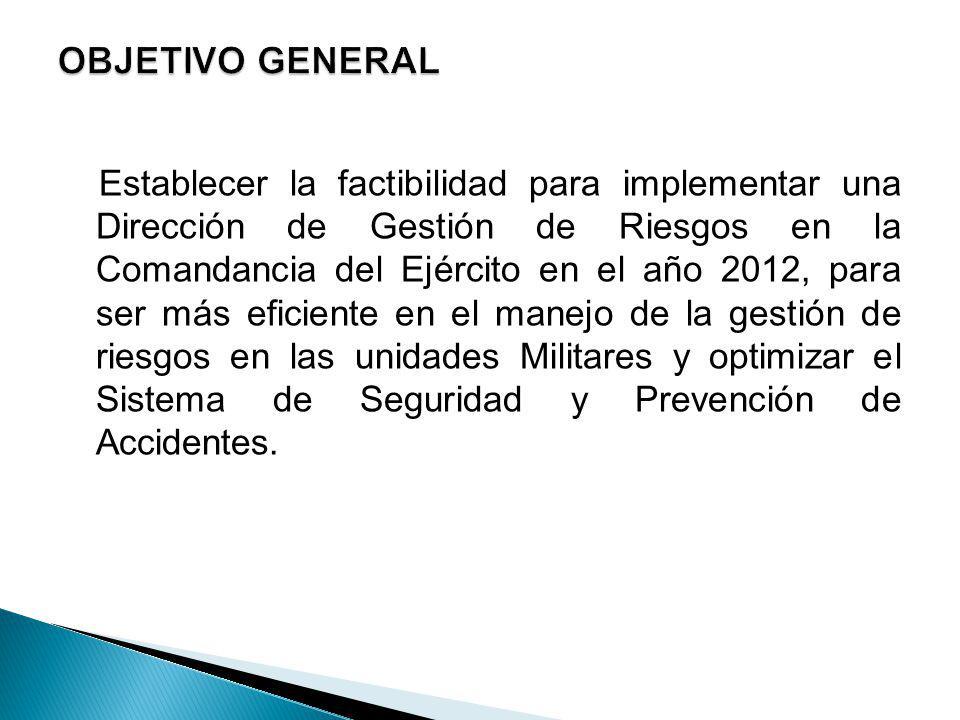 Establecer la factibilidad para implementar una Dirección de Gestión de Riesgos en la Comandancia del Ejército en el año 2012, para ser más eficiente