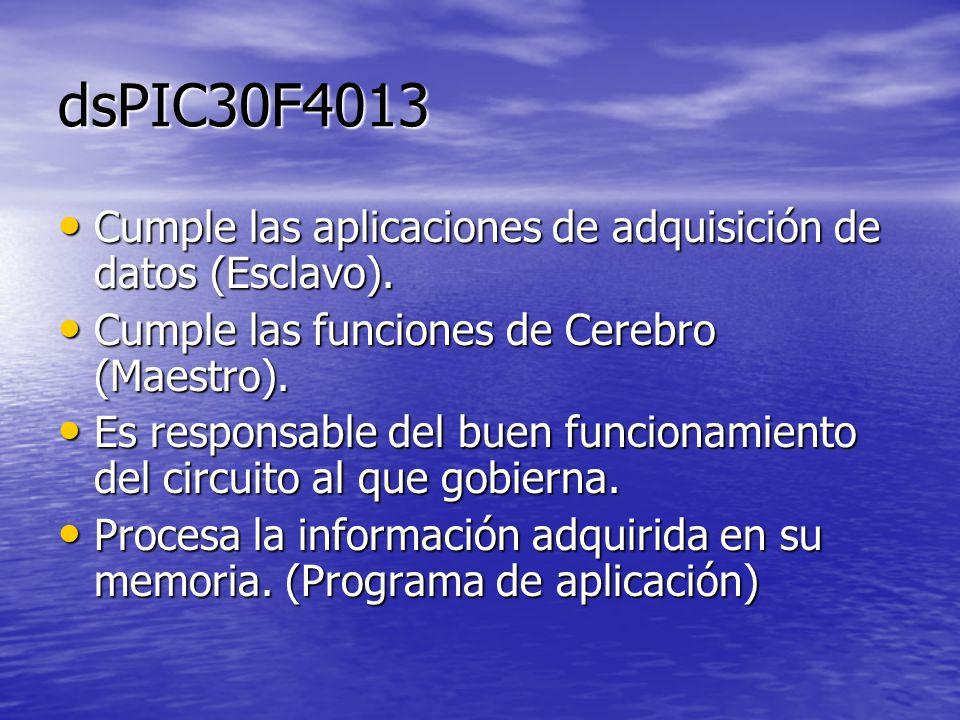 dsPIC30F4013 Cumple las aplicaciones de adquisición de datos (Esclavo). Cumple las aplicaciones de adquisición de datos (Esclavo). Cumple las funcione