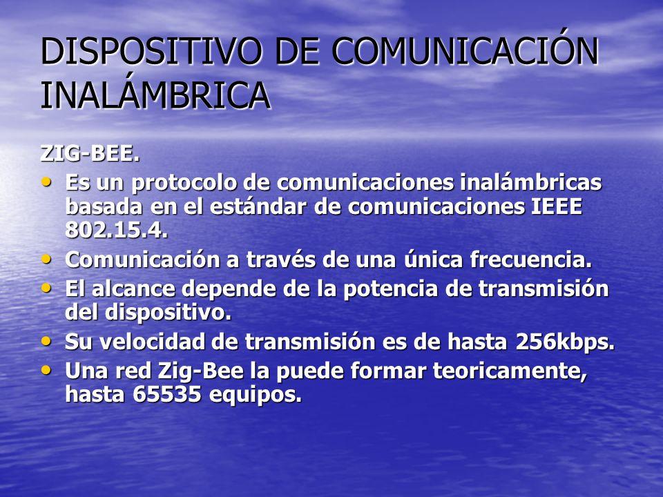 DISPOSITIVO DE COMUNICACIÓN INALÁMBRICA ZIG-BEE. Es un protocolo de comunicaciones inalámbricas basada en el estándar de comunicaciones IEEE 802.15.4.