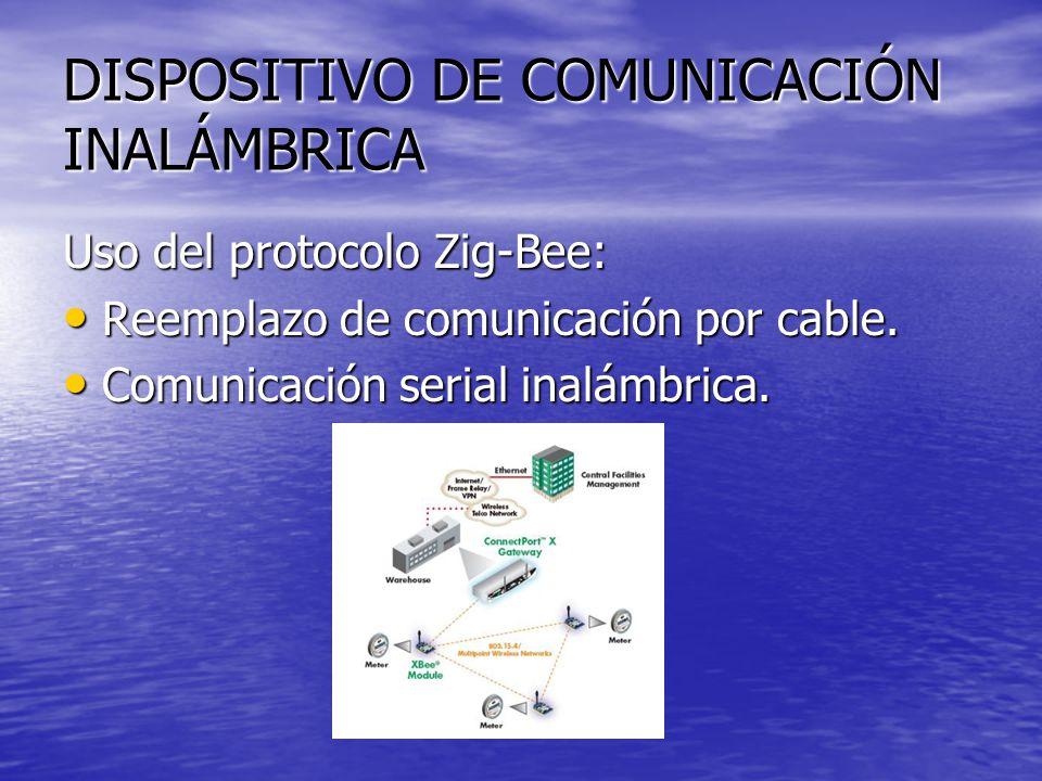 DISPOSITIVO DE COMUNICACIÓN INALÁMBRICA Uso del protocolo Zig-Bee: Reemplazo de comunicación por cable. Reemplazo de comunicación por cable. Comunicac