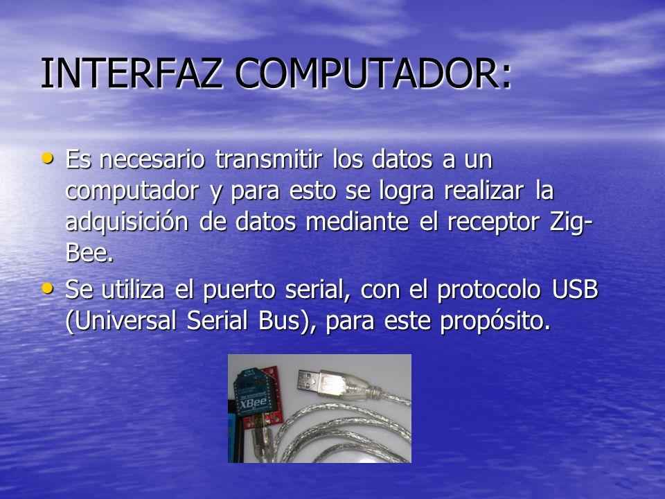INTERFAZ COMPUTADOR: Es necesario transmitir los datos a un computador y para esto se logra realizar la adquisición de datos mediante el receptor Zig-