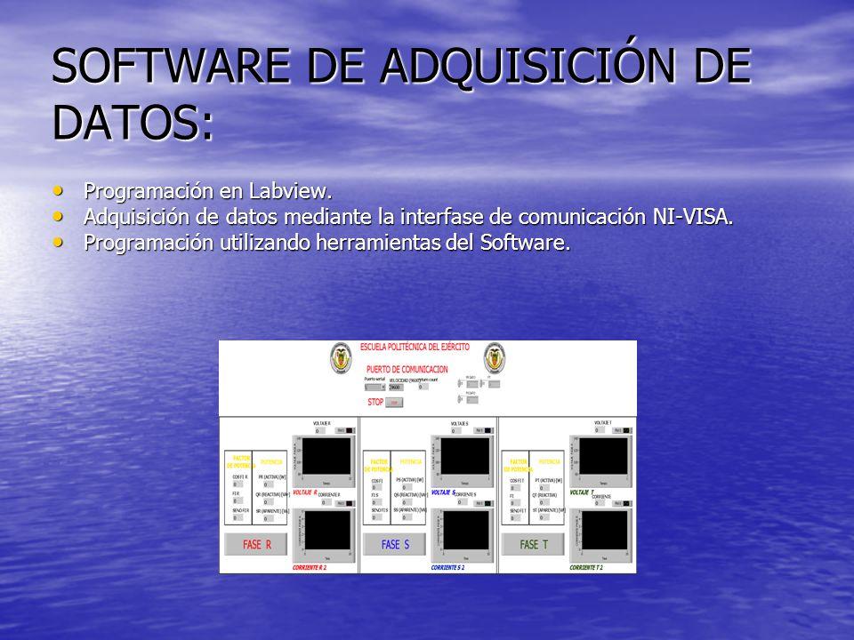 SOFTWARE DE ADQUISICIÓN DE DATOS: Programación en Labview. Programación en Labview. Adquisición de datos mediante la interfase de comunicación NI-VISA