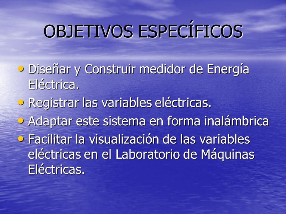 OBJETIVOS ESPECÍFICOS Diseñar y Construir medidor de Energía Eléctrica. Diseñar y Construir medidor de Energía Eléctrica. Registrar las variables eléc