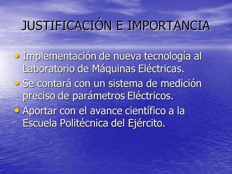JUSTIFICACIÓN E IMPORTANCIA Implementación de nueva tecnología al Laboratorio de Máquinas Eléctricas. Implementación de nueva tecnología al Laboratori