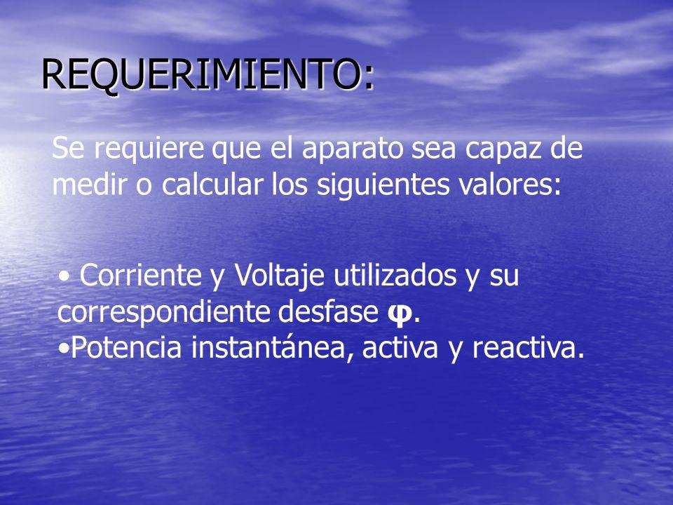 REQUERIMIENTO: Se requiere que el aparato sea capaz de medir o calcular los siguientes valores: Corriente y Voltaje utilizados y su correspondiente de