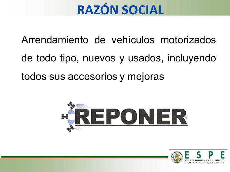 Arrendamiento de vehículos motorizados de todo tipo, nuevos y usados, incluyendo todos sus accesorios y mejoras RAZÓN SOCIAL