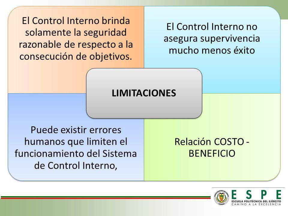 El Control Interno brinda solamente la seguridad razonable de respecto a la consecución de objetivos. El Control Interno no asegura supervivencia much