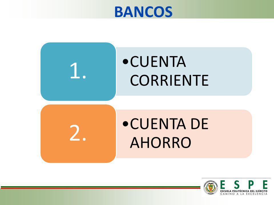 BANCOS CUENTA CORRIENTE 1. CUENTA DE AHORRO 2.