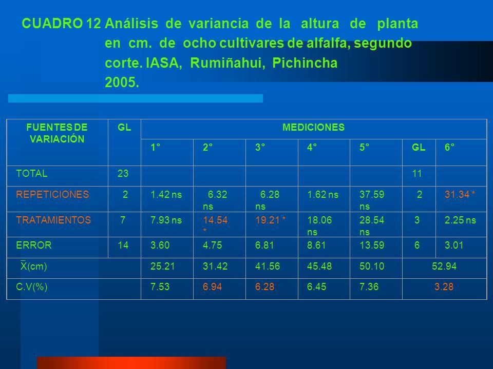 2. Segundo corte En los análisis de variancia de la altura de planta de ocho cultivares de alfalfa no se detectó diferencias estadísticas para repetic