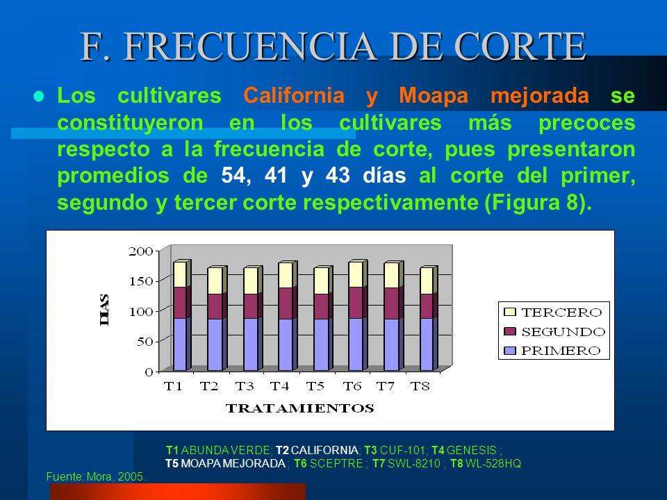 E. INCIDENCIA DE PLAGAS CUADRO 20 Análisis de variancia de la incidencia de plagas en ocho cultivares de alfalfa, en cada corte. IASA, Rumiñahui, Pich