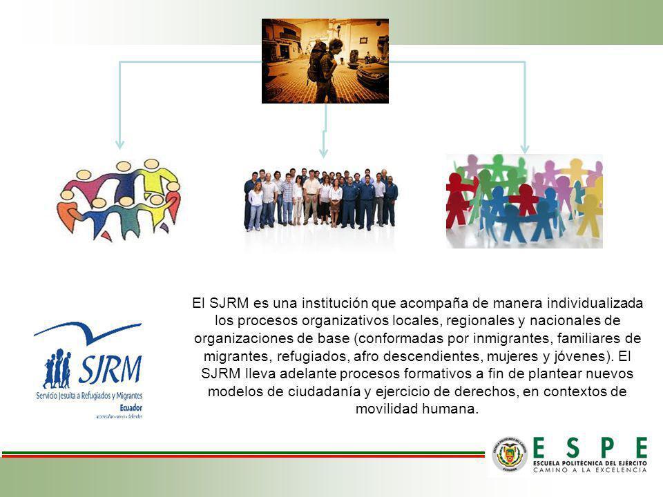 El SJRM es una institución que acompaña de manera individualizada los procesos organizativos locales, regionales y nacionales de organizaciones de base (conformadas por inmigrantes, familiares de migrantes, refugiados, afro descendientes, mujeres y jóvenes).