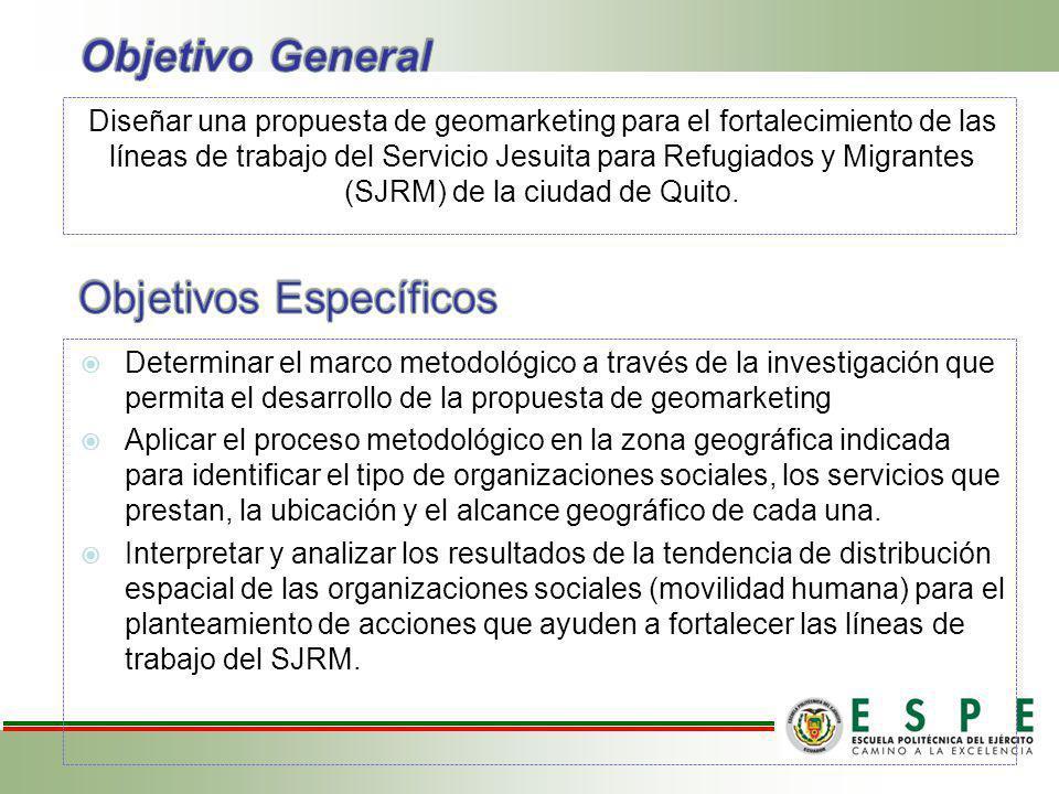 Diseñar una propuesta de geomarketing para el fortalecimiento de las líneas de trabajo del Servicio Jesuita para Refugiados y Migrantes (SJRM) de la ciudad de Quito.