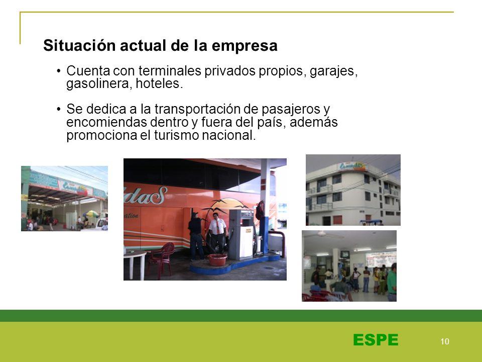 10 ESPE Cuenta con terminales privados propios, garajes, gasolinera, hoteles. Se dedica a la transportación de pasajeros y encomiendas dentro y fuera