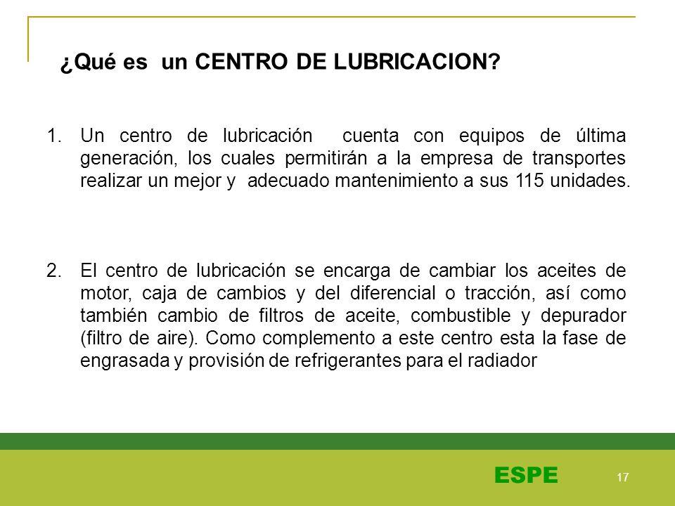 17 ESPE ¿Qué es un CENTRO DE LUBRICACION? 1.Un centro de lubricación cuenta con equipos de última generación, los cuales permitirán a la empresa de tr