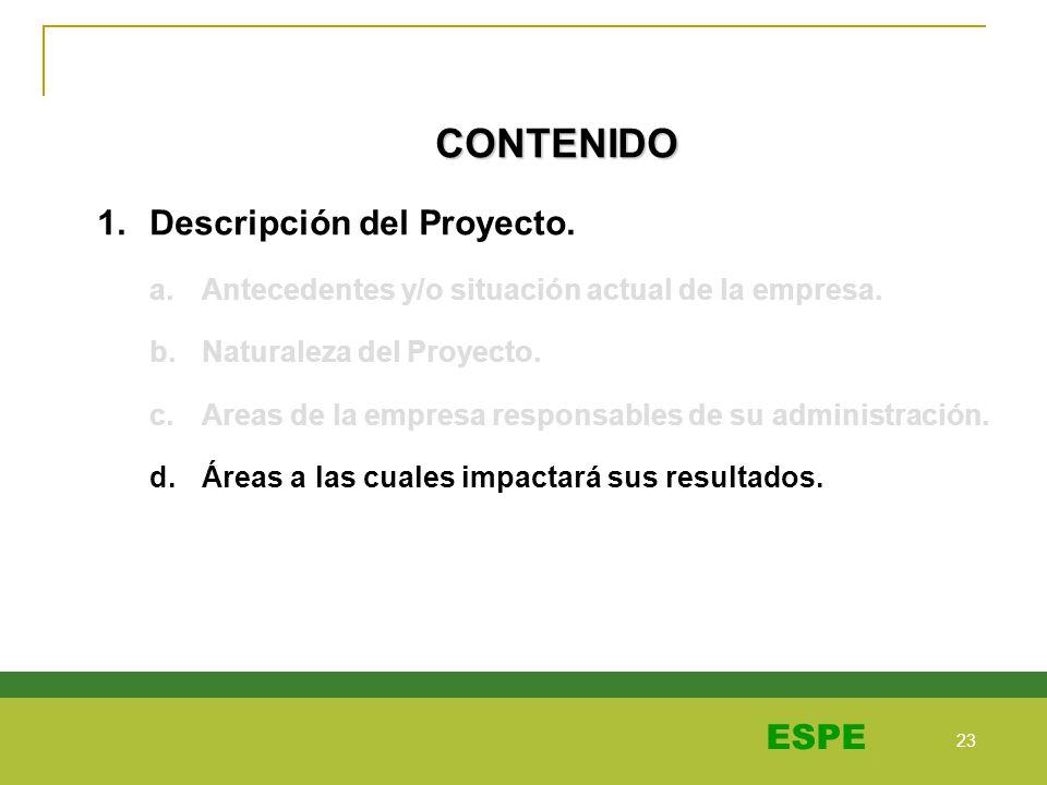 23 ESPE CONTENIDO 1.Descripción del Proyecto. a.Antecedentes y/o situación actual de la empresa. b.Naturaleza del Proyecto. c.Areas de la empresa resp