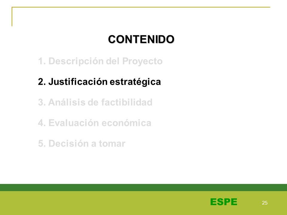 25 ESPE CONTENIDO 1. Descripción del Proyecto 2. Justificación estratégica 3. Análisis de factibilidad 4. Evaluación económica 5. Decisión a tomar