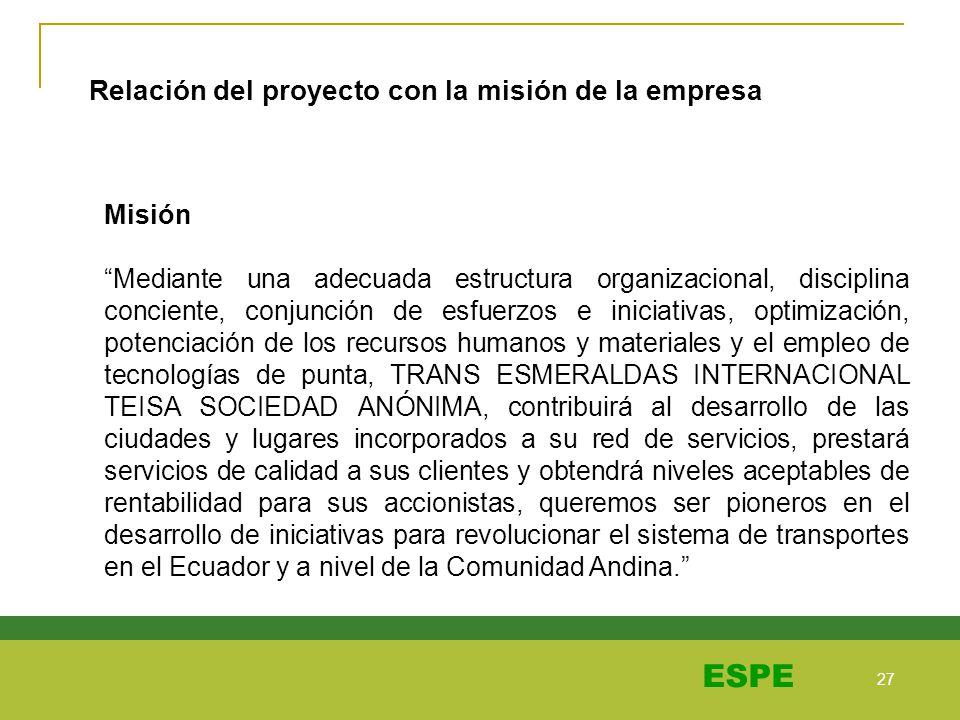 27 ESPE Misión Mediante una adecuada estructura organizacional, disciplina conciente, conjunción de esfuerzos e iniciativas, optimización, potenciació