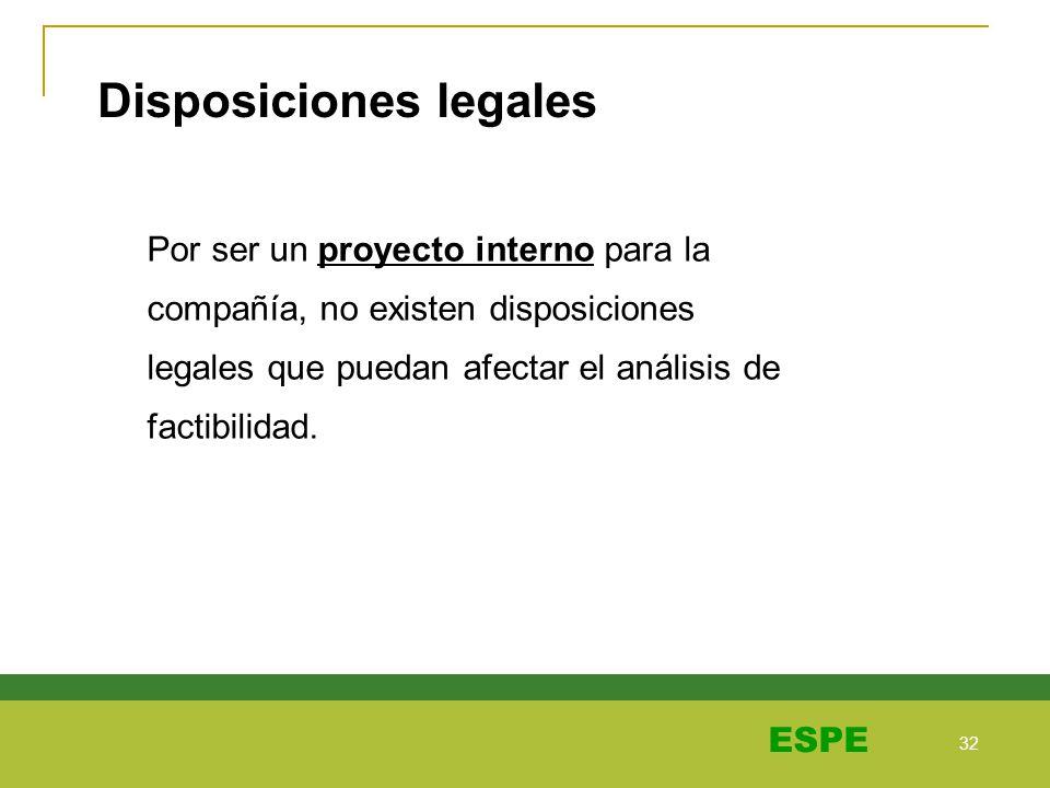 32 ESPE Disposiciones legales Por ser un proyecto interno para la compañía, no existen disposiciones legales que puedan afectar el análisis de factibi