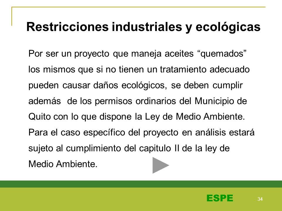 34 ESPE Restricciones industriales y ecológicas Por ser un proyecto que maneja aceites quemados los mismos que si no tienen un tratamiento adecuado pu