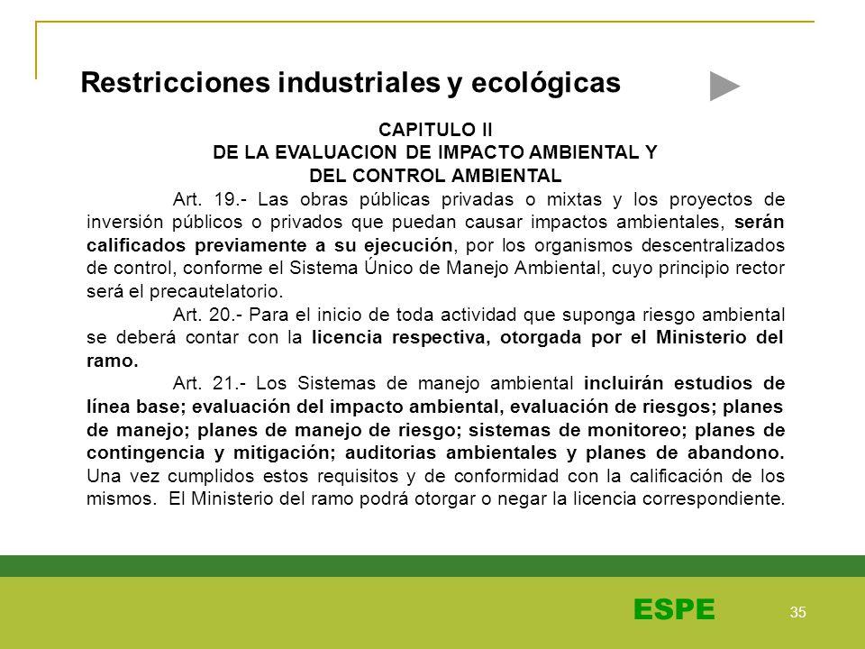 35 ESPE Restricciones industriales y ecológicas CAPITULO II DE LA EVALUACION DE IMPACTO AMBIENTAL Y DEL CONTROL AMBIENTAL Art. 19.- Las obras públicas