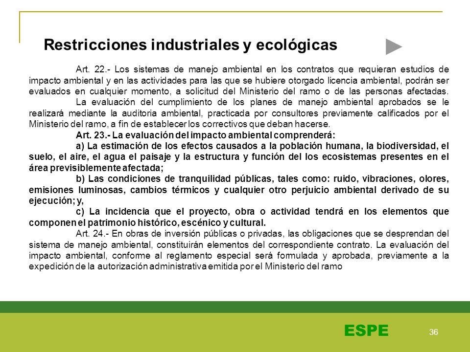 36 ESPE Restricciones industriales y ecológicas Art. 22.- Los sistemas de manejo ambiental en los contratos que requieran estudios de impacto ambienta