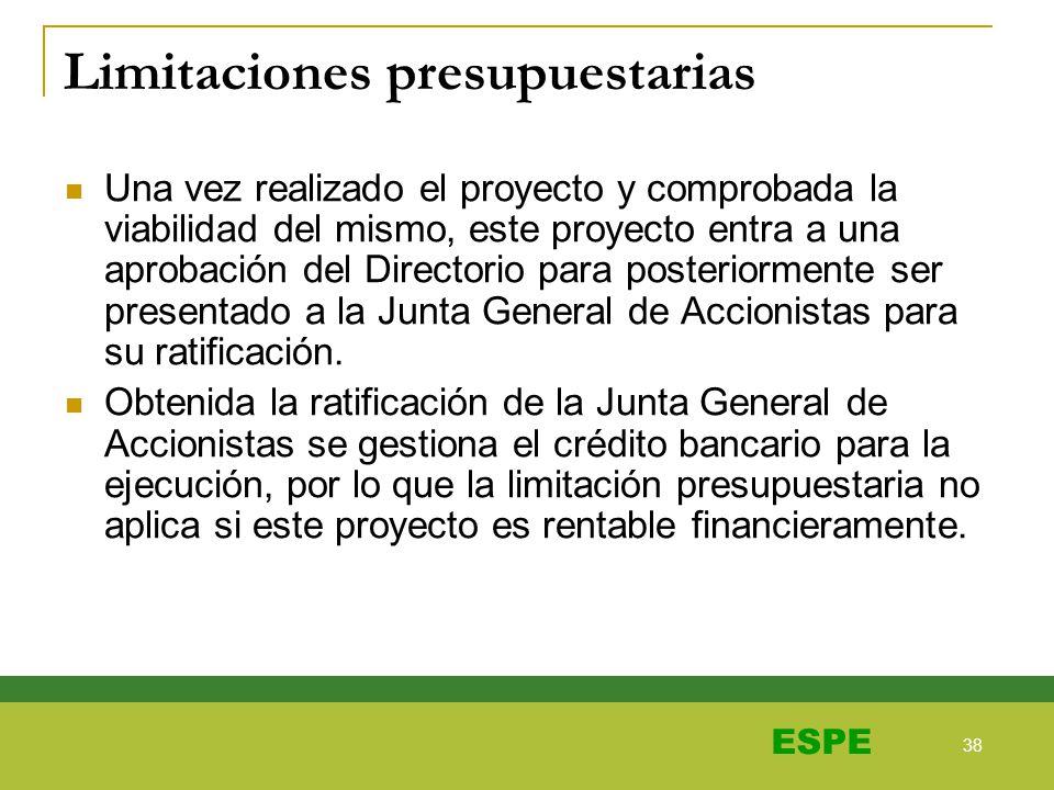 38 ESPE Limitaciones presupuestarias Una vez realizado el proyecto y comprobada la viabilidad del mismo, este proyecto entra a una aprobación del Dire