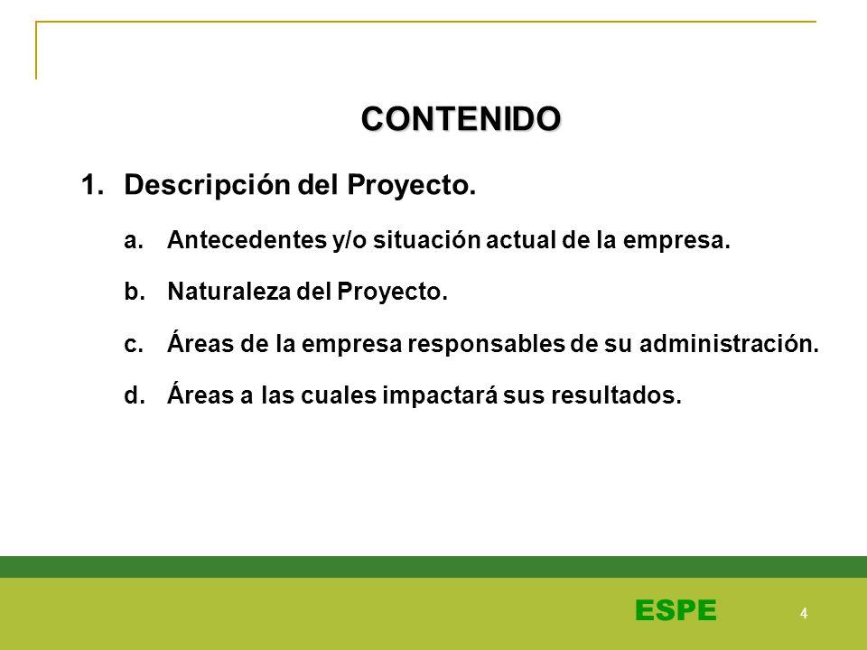 4 4 ESPE CONTENIDO 1.Descripción del Proyecto. a.Antecedentes y/o situación actual de la empresa. b.Naturaleza del Proyecto. c.Áreas de la empresa res