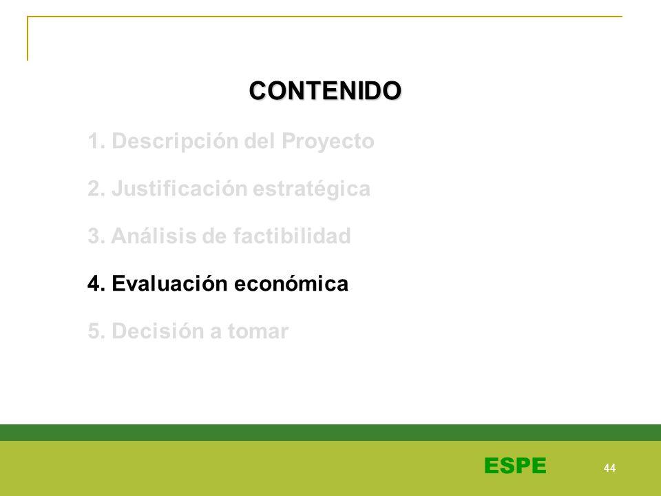 44 ESPE CONTENIDO 1. Descripción del Proyecto 2. Justificación estratégica 3. Análisis de factibilidad 4. Evaluación económica 5. Decisión a tomar