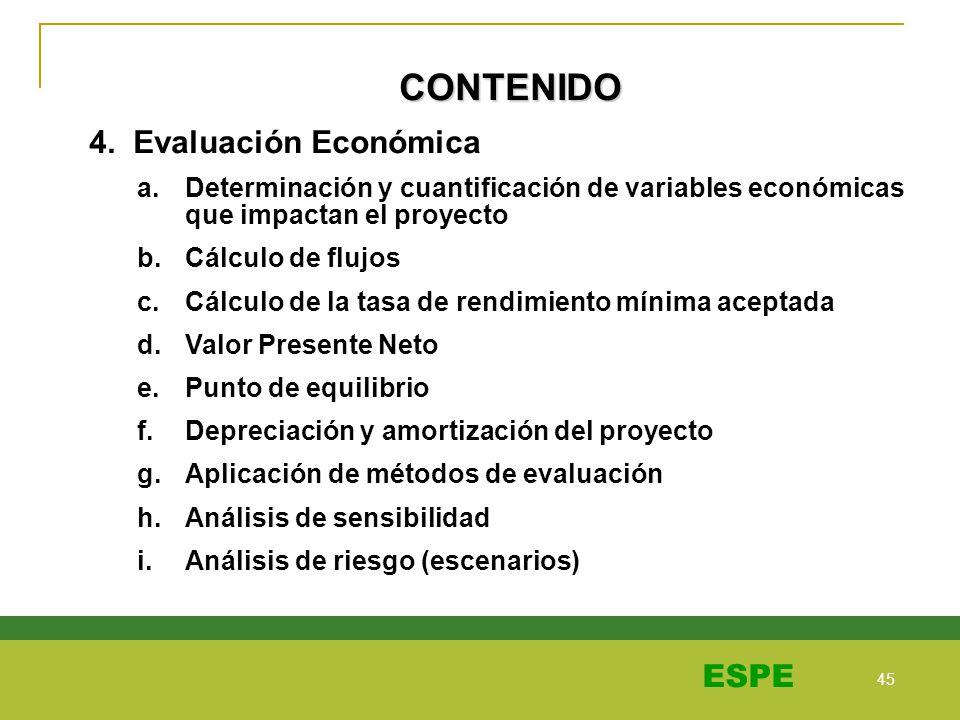 45 ESPE CONTENIDO 4. Evaluación Económica a.Determinación y cuantificación de variables económicas que impactan el proyecto b.Cálculo de flujos c.Cálc