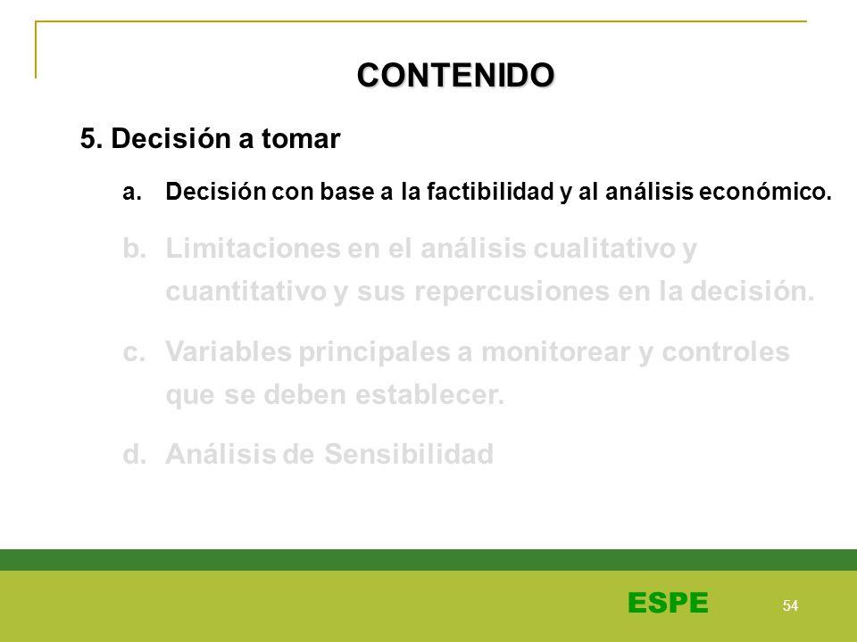 54 ESPE CONTENIDO 5. Decisión a tomar a.Decisión con base a la factibilidad y al análisis económico. b.Limitaciones en el análisis cualitativo y cuant