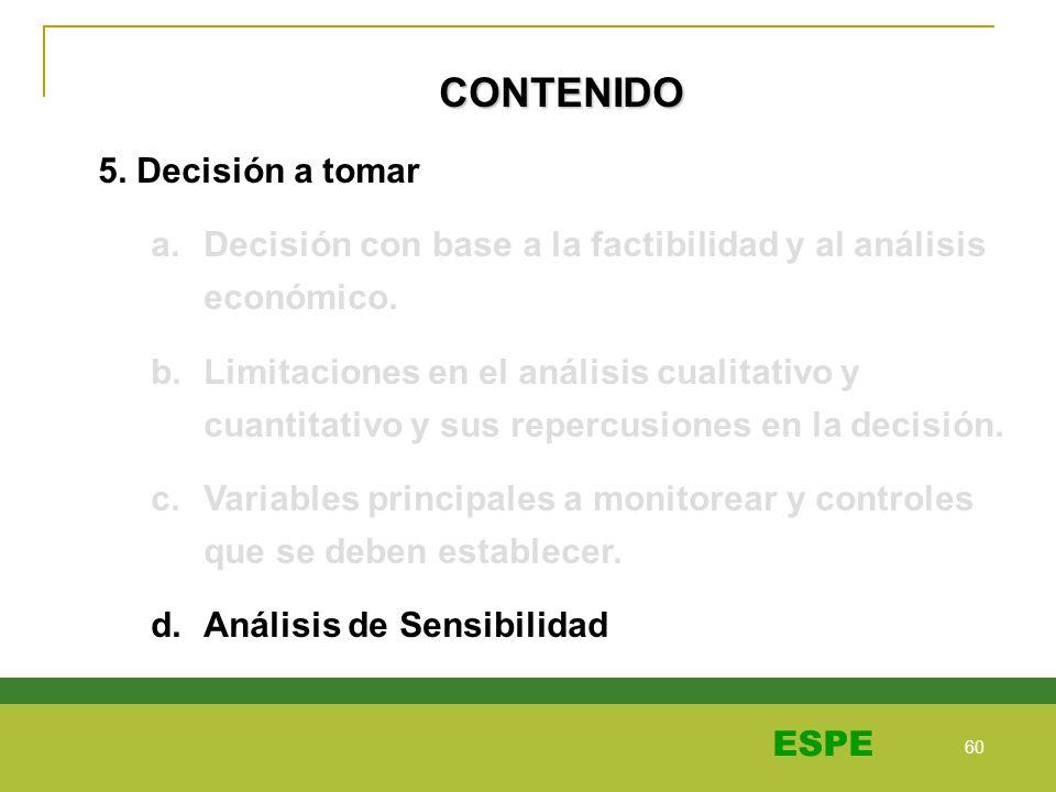 60 ESPE CONTENIDO 5. Decisión a tomar a.Decisión con base a la factibilidad y al análisis económico. b.Limitaciones en el análisis cualitativo y cuant