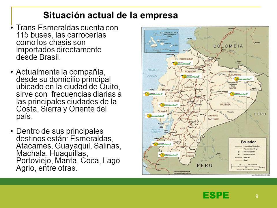 9 9 ESPE Trans Esmeraldas cuenta con 115 buses, las carrocerías como los chasis son importados directamente desde Brasil. Actualmente la compañía, des
