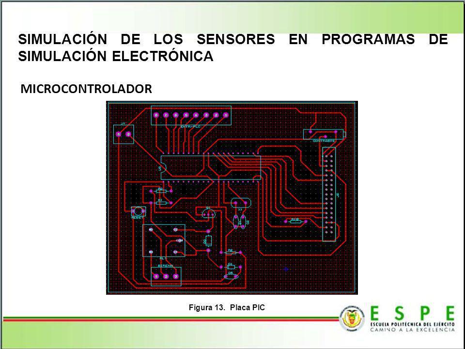 MICROCONTROLADOR SIMULACIÓN DE LOS SENSORES EN PROGRAMAS DE SIMULACIÓN ELECTRÓNICA Figura 13. Placa PIC