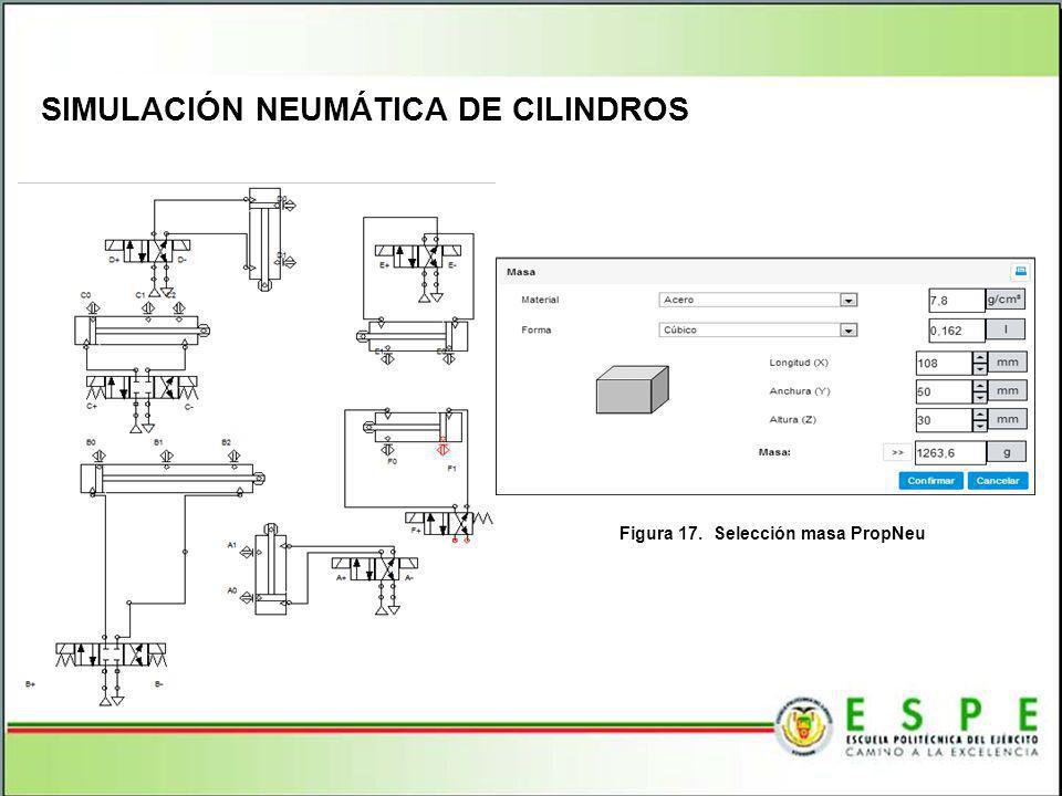 SIMULACIÓN NEUMÁTICA DE CILINDROS Figura 17. Selección masa PropNeu