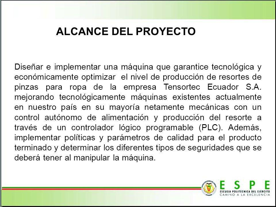 Diseñar e implementar una máquina que garantice tecnológica y económicamente optimizar el nivel de producción de resortes de pinzas para ropa de la empresa Tensortec Ecuador S.A.
