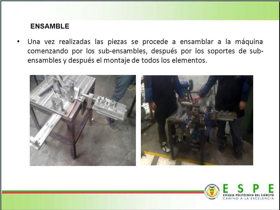 ENSAMBLE Una vez realizadas las piezas se procede a ensamblar a la máquina comenzando por los sub-ensambles, después por los soportes de sub- ensambles y después el montaje de todos los elementos.