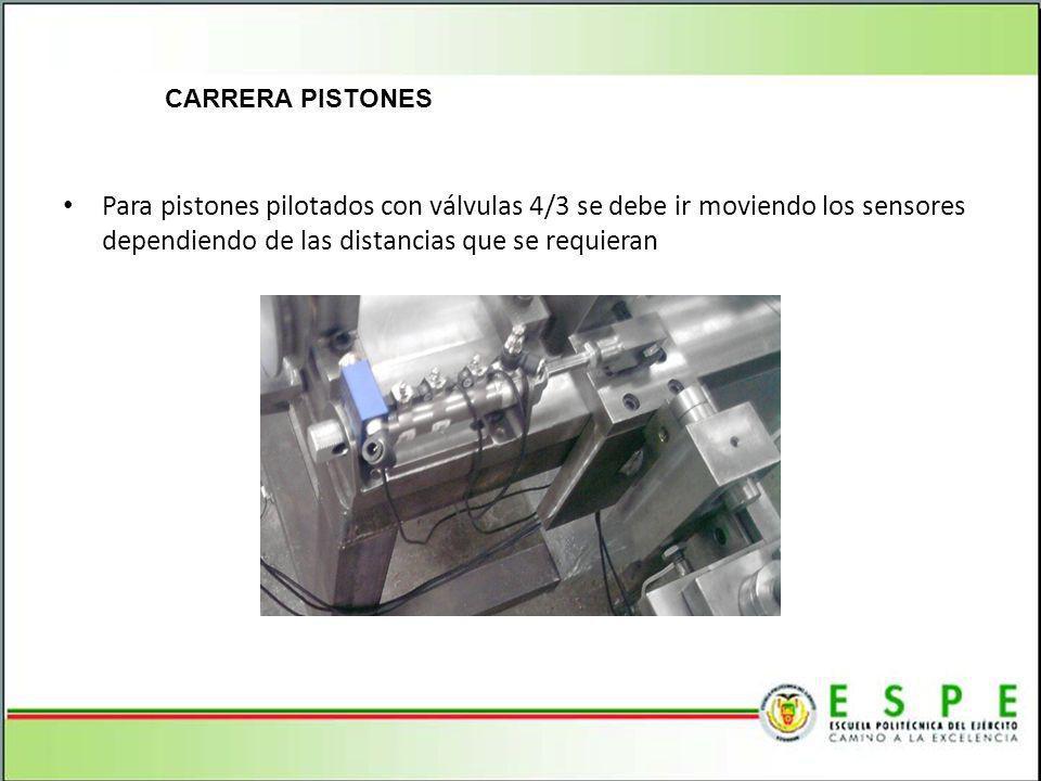 CARRERA PISTONES Para pistones pilotados con válvulas 4/3 se debe ir moviendo los sensores dependiendo de las distancias que se requieran