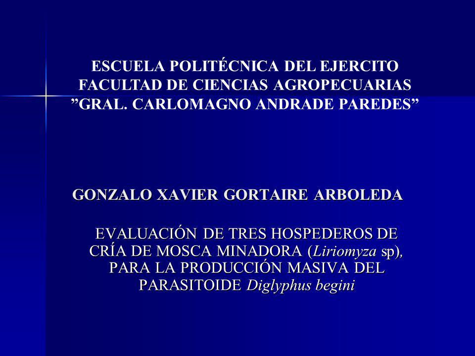 GONZALO XAVIER GORTAIRE ARBOLEDA EVALUACIÓN DE TRES HOSPEDEROS DE CRÍA DE MOSCA MINADORA (Liriomyza sp), PARA LA PRODUCCIÓN MASIVA DEL PARASITOIDE Diglyphus begini ESCUELA POLITÉCNICA DEL EJERCITO FACULTAD DE CIENCIAS AGROPECUARIAS GRAL.