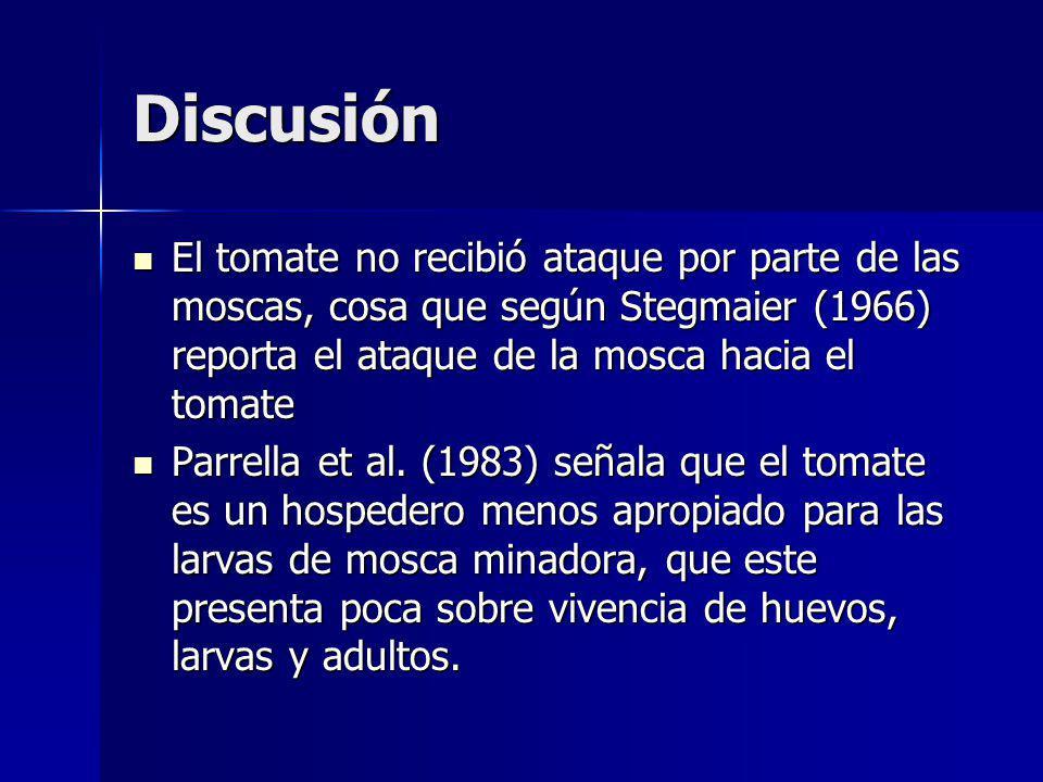 Discusión El tomate no recibió ataque por parte de las moscas, cosa que según Stegmaier (1966) reporta el ataque de la mosca hacia el tomate El tomate no recibió ataque por parte de las moscas, cosa que según Stegmaier (1966) reporta el ataque de la mosca hacia el tomate Parrella et al.